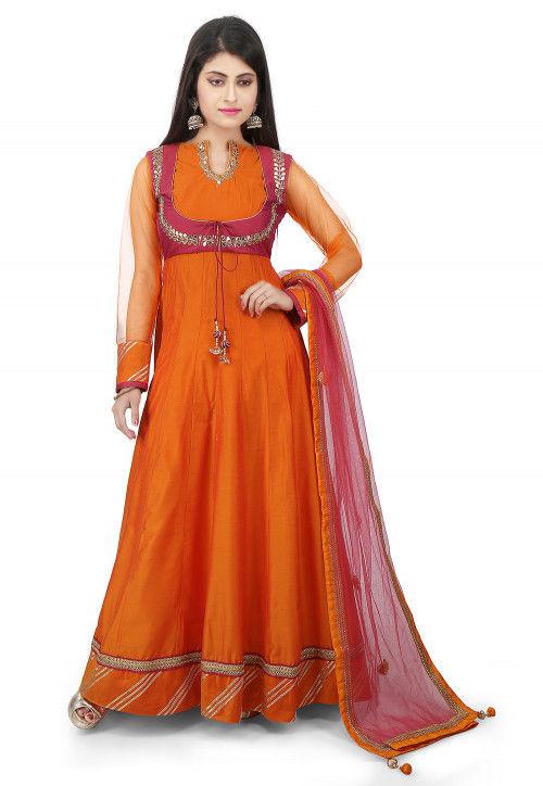 Embroidered Cotton Silk Jacket Style Abaya Suit in Orange