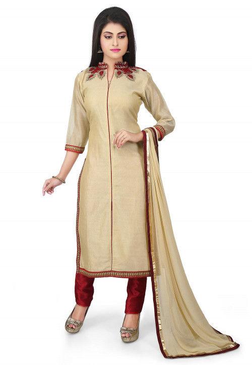 Embroidered Neckline Chanderi Cotton Pakistani Suit in Beige