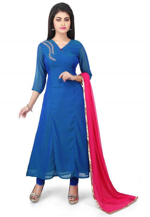 Plain Georgette Straight Suit in Blue