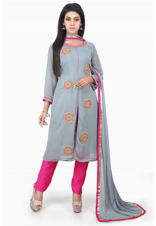 Embroidered Georgette Front Slit Straight Suit in Grey