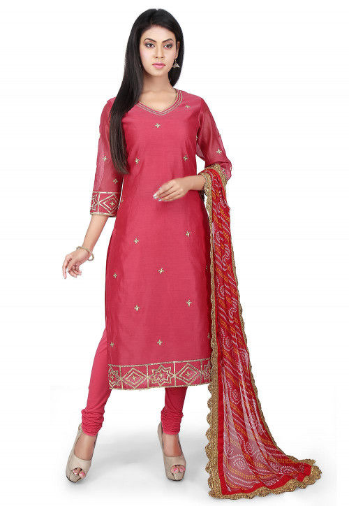 Embroidered Chanderi Cotton Straight Suit in Coral Pink