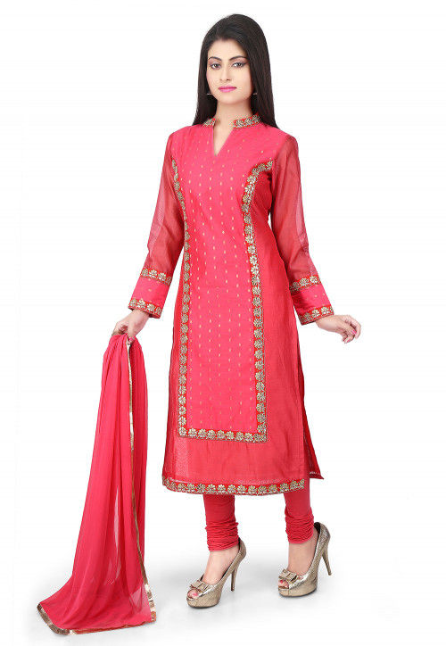 Embroidered Art Chanderi Cotton Straight Cut Suit in Coral
