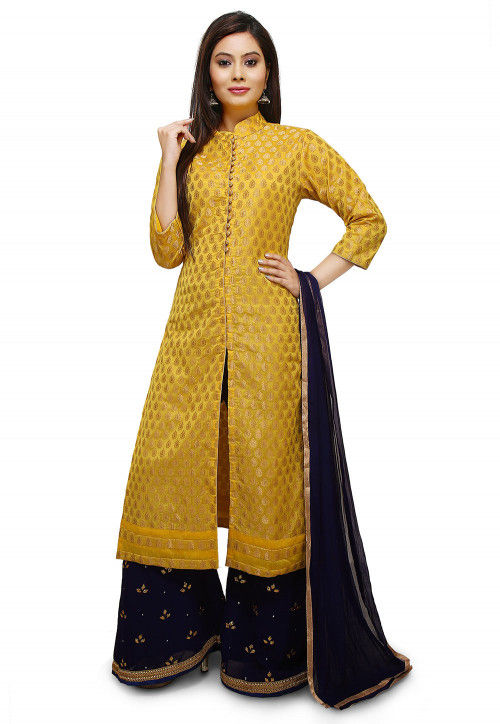Hand Embroidered Chanderi Silk Pakistani Suit in Yellow