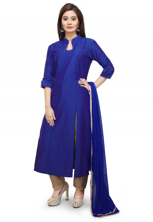 Plain Cotton Silk Pakistani Suit in Royal Blue