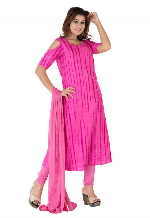 Tie Dyed Pure Silk A Line Suit in Fuchsia