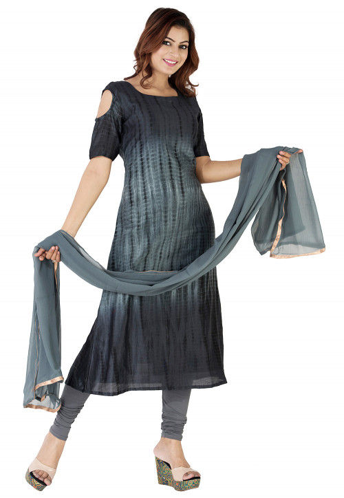 Tie Dyed Pure Silk A Line Suit in Grey Ombre