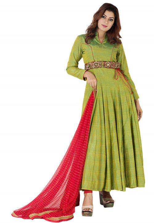 Embroidered Belt Art Silk Abaya Style Suit in Olive Green