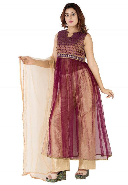 Woven Yoke Net Anarkali Suit in Wine