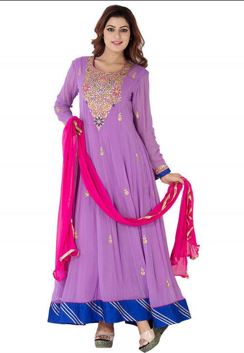 Goat Patti Georgette Abaya Style Suit in Light Purple