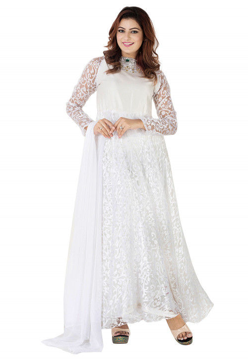 Woven Georgette Brasso Abaya Style Suit in White