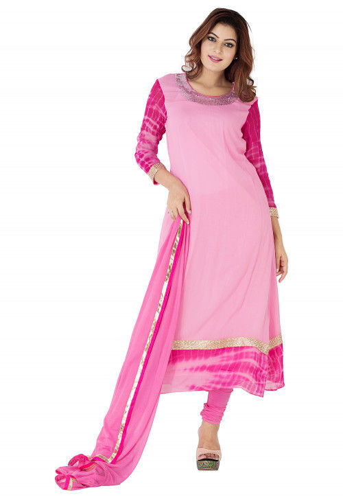 Embroidered Neckline Georgette A Line Suit in Light Pink