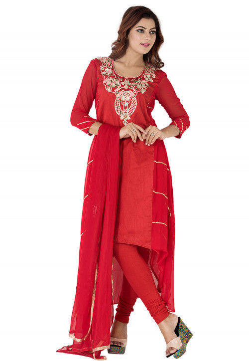 Embroidered Georgette Asymmetric A Line Suit in Red