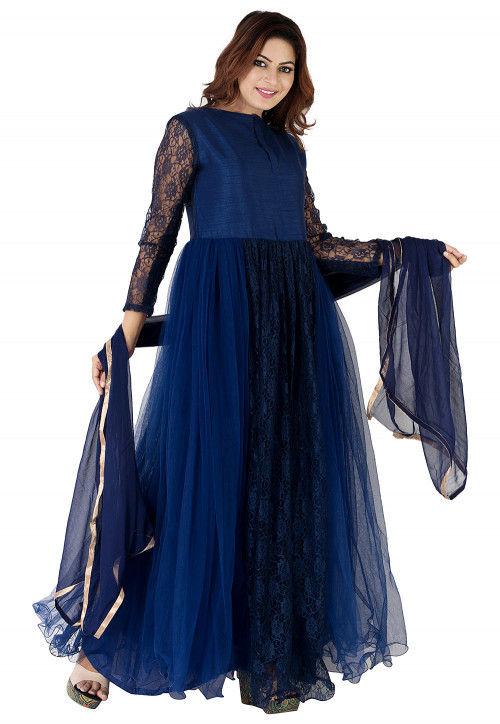 Plain Net Abaya Style Suit in Navy Blue