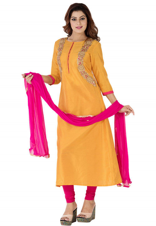 Embroidered Cotton Silk A Line Suit in Mustard