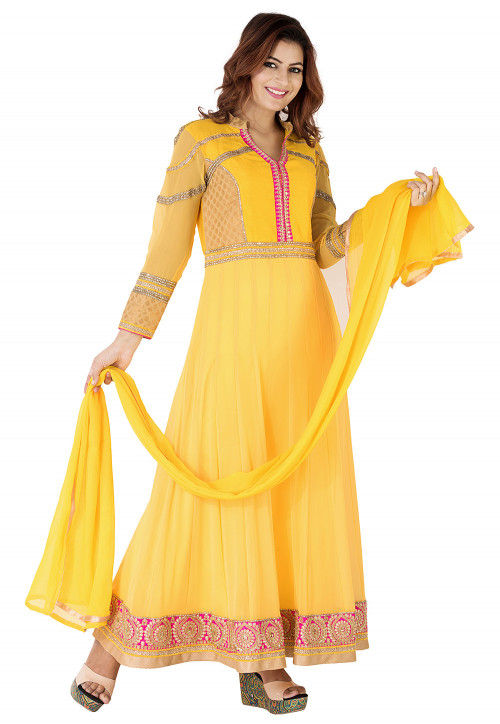 Embroidered Border Georgette Abaya Style Suit in Yellow