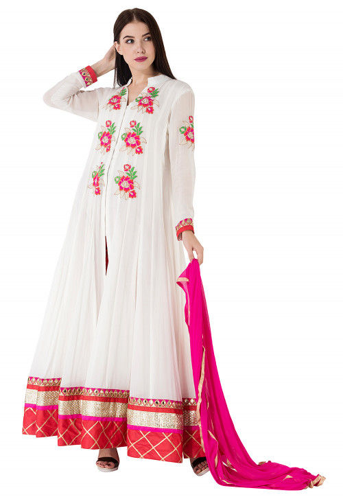 Embroidered Border Georgette Abaya Style Suit in White