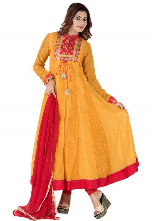 Woven Chanderi Silk Jacquard Abaya Style Suit in Mustard