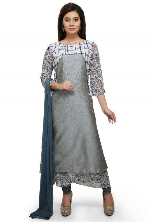 Abstract Printed Chanderi Silk A Line Suit in Grey