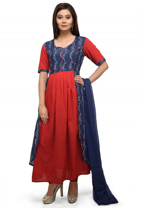 Block Printed Cotton A Line Suit in Red and Navy Blue