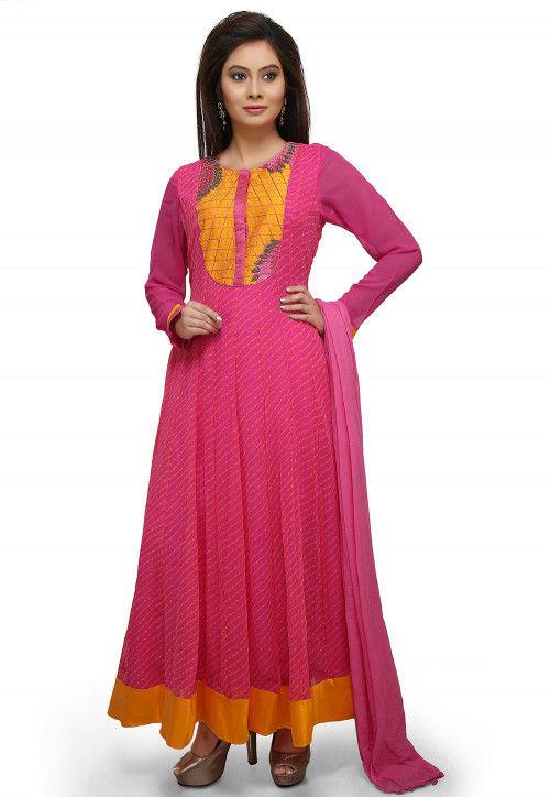 Leheriya Printed Georgette Abaya Style Suit in Fuchsia