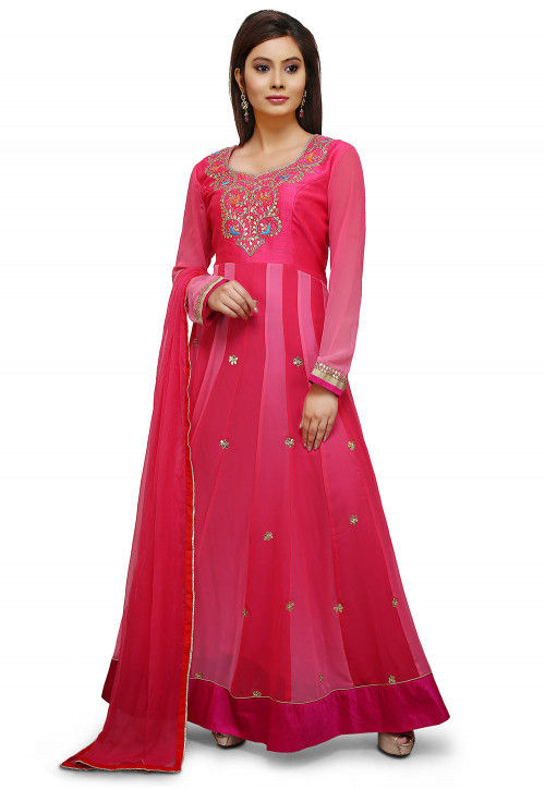 Gota Patti Georgette Abaya Style Suit in Fuchsia and Pink