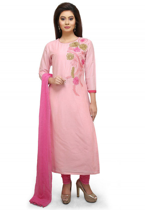 Embroidered Cotton Silk Straight Suit in Peach