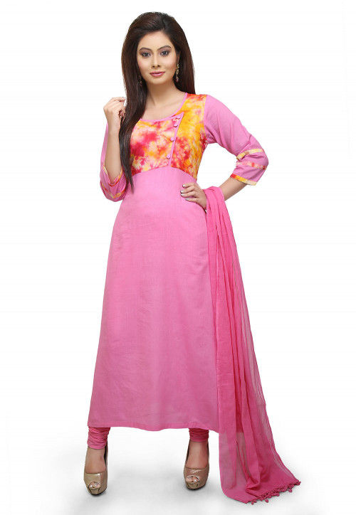 Printed Yoke Cotton A Line Suit in Pink