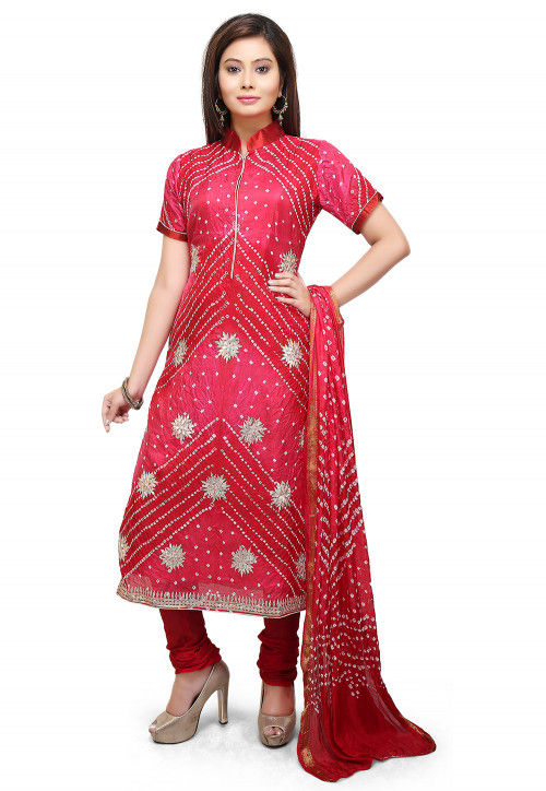 Bandhej Art Silk Straight Suit in Red