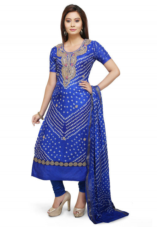 Gota Patti Art Silk Straight Suit in Royal Blue