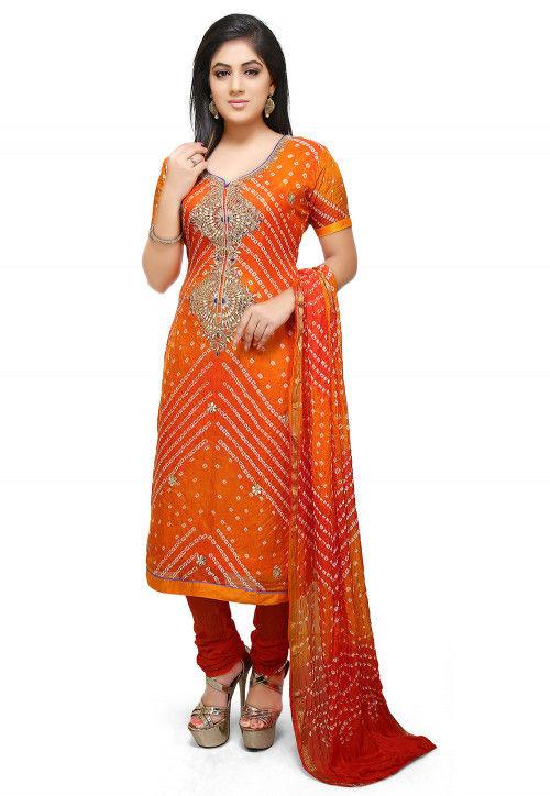 Gota Patti Art Silk Straight Suit in Orange