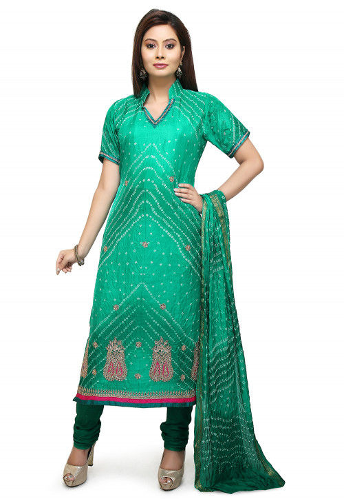 Bandhej Art Silk Straight Suit in Teal Green
