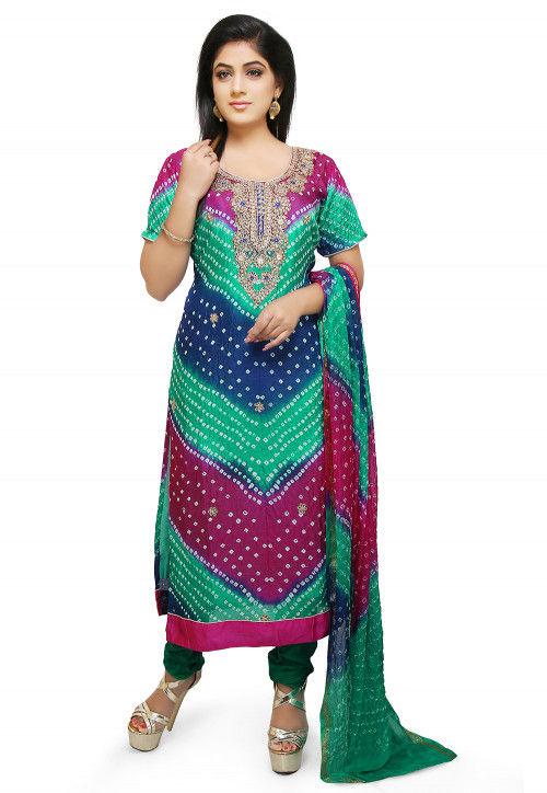 Gota Patti Art Silk Straight Suit in Multicolor