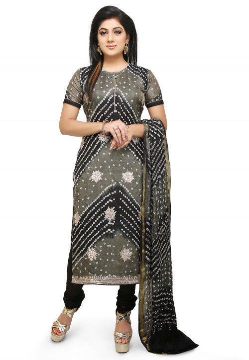 Bandhej Art Silk Straight Suit in Black and Grey