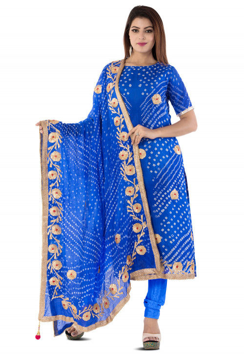 Bandhej Art Silk Straight Suit in Royal Blue