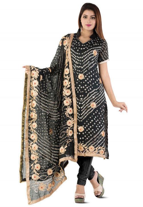 Bandhej Art Silk Straight Suit in Black
