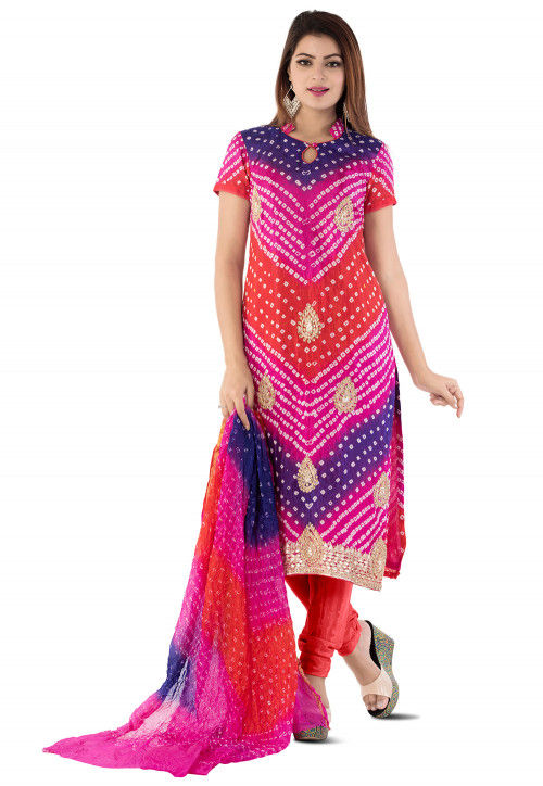 Bandhej Art Silk Straight Suit in Multicolor