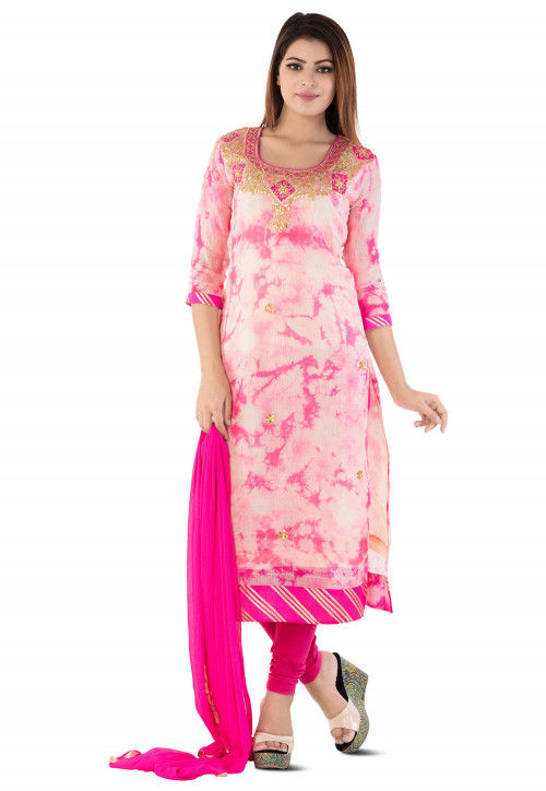 Gota Patti Pure Kota Silk Straight Suit in Pink
