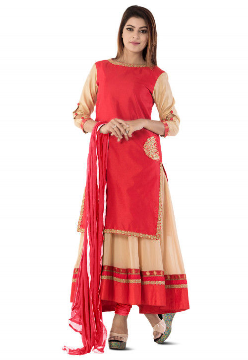 Embroidered Dupion Silk Layered Anarkali Suit in Red and Beige