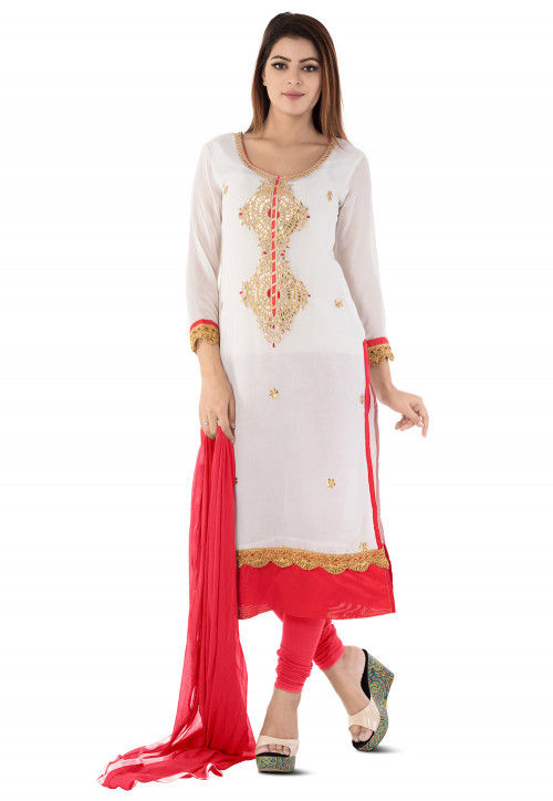 Embroidered Georgette Straight Suit in White