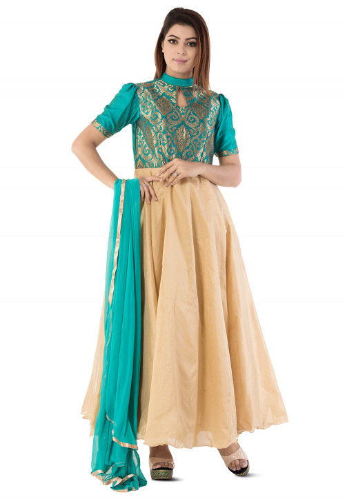 Woven Art Silk Abaya Style Suit in Beige and Turquoise