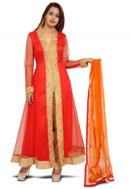 Emroidered Net Abaya Style Suit in Red