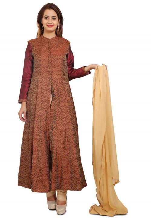 Woven Brocade Silk Anarkali Style Suit in Brown
