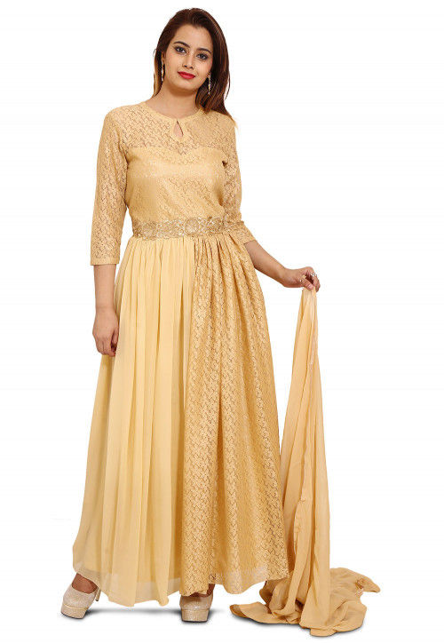 Plain Chantelle Net Abaya Style Suit in Beige