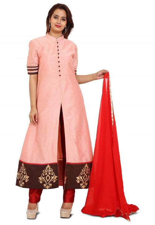Printed Cotton Silk Anarkali Style Suit in Peach