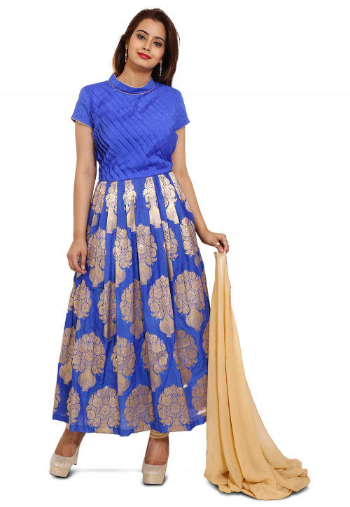 Woven Dupion Silk Anarkali Style Suit in Royal Blue