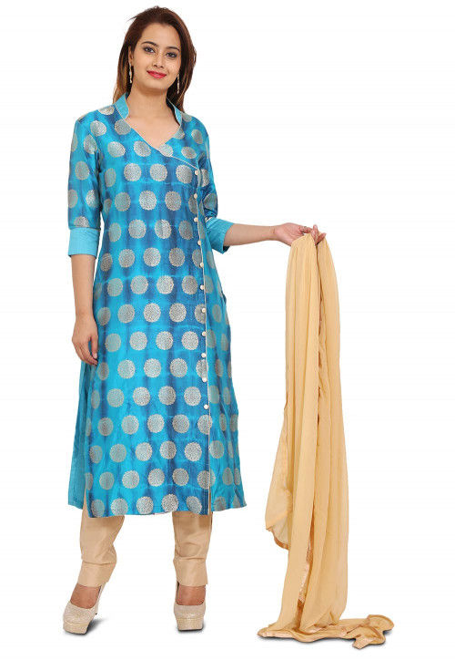 Woven Banarasi Silk A Line Suit in Shaded Turquoise