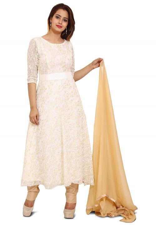 Woven Chantelle Net Anarkali Style Suit in Off White