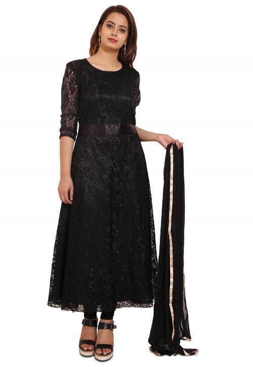 Woven Chantelle Net Anarkali Style Suit in Black