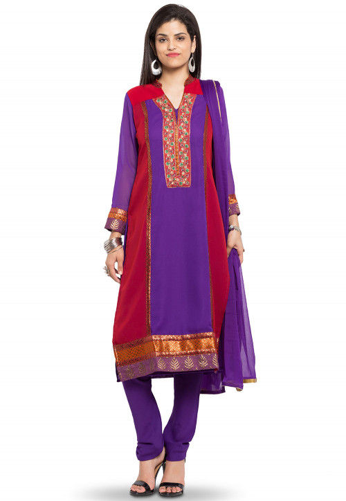 Embroidered Georgette Straight Suit in Purple and Red