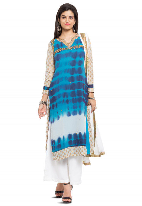 Tie Dyed Georgette Pakistani Suit in Blue
